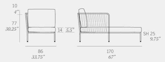 Nido Left Corner Chaise Dimensions